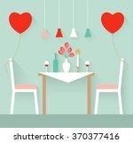 romantic interior of a dining...   Shutterstock .eps vector #370377416