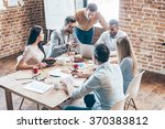 working as team. group of six... | Shutterstock . vector #370383812