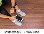 fitness woman hand with wearing ... | Shutterstock . vector #370396856