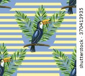 toucan and banana leaves on the ... | Shutterstock . vector #370413935