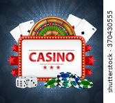 Background on a casino theme.  Roulette, cards, poker chips and dices with place for text. EPS10 vector - stock vector