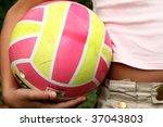 little girl with volley ball | Shutterstock . vector #37043803