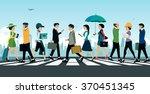 businessman walking on a... | Shutterstock .eps vector #370451345