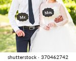 funny bride and groom with mr... | Shutterstock . vector #370462742