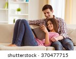 beautiful young people sitting... | Shutterstock . vector #370477715