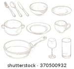 empty dishes set. | Shutterstock .eps vector #370500932