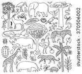 hand drawn africa set. vector... | Shutterstock .eps vector #370506002