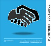 handshake icon on blue... | Shutterstock .eps vector #370510922