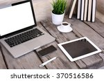 pc laptop  tablet and phone on... | Shutterstock . vector #370516586