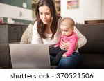pretty young single mom working ...   Shutterstock . vector #370521506