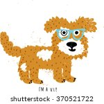 fun dog wearing glasses on... | Shutterstock . vector #370521722