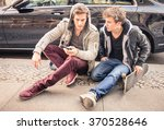 young hipster fashion brothers... | Shutterstock . vector #370528646
