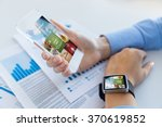 close up of hands with smart... | Shutterstock . vector #370619852