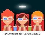 cute cartoon kids sitting in... | Shutterstock .eps vector #370625312