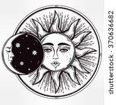 vintage hand drawn sun eclipse . | Shutterstock .eps vector #370636682