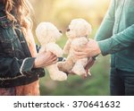 young couple holding two teddy... | Shutterstock . vector #370641632