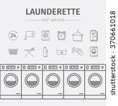 Self Service Laundry. Vector...