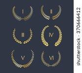 set of golden laurel wreath... | Shutterstock .eps vector #370666412