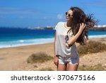 young beautiful stylish girl... | Shutterstock . vector #370675166