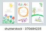 set of wax crayon kid s drawn... | Shutterstock .eps vector #370684235
