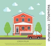 facade apartment house  cottage.... | Shutterstock .eps vector #370694546