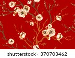 sakura branch on red background.... | Shutterstock .eps vector #370703462