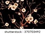 sakura branch on a black... | Shutterstock .eps vector #370703492