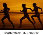 blur silhouette of three women... | Shutterstock . vector #370709042