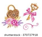 watercolor key  heart shaped... | Shutterstock . vector #370727918