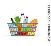 full basket with different food.... | Shutterstock .eps vector #370735556