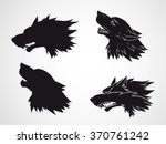 vector set of hand drawn wolf... | Shutterstock .eps vector #370761242
