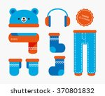 vector cute bear warm winter... | Shutterstock .eps vector #370801832