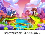 Stock photo creative illustration and innovative art cabin in the mountain realistic fantastic cartoon style 370805072