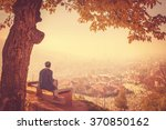 man sitting alone on bench and... | Shutterstock . vector #370850162