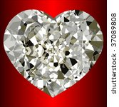 vector beautiful heart diamond... | Shutterstock .eps vector #37089808
