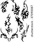 tribal black isolated on white   Shutterstock .eps vector #37090087