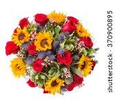 bouquet of flowers top view... | Shutterstock . vector #370900895