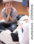 happy boy having home education ... | Shutterstock . vector #370909646