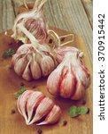 fresh raw pink garlic full body ...