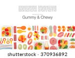 various jelly candies on white... | Shutterstock . vector #370936892