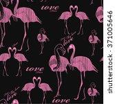 seamless pattern flamingo.... | Shutterstock . vector #371005646