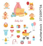 vector funny cute baby boy and... | Shutterstock .eps vector #371009756