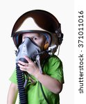 Small photo of Funny little child in fighter pilot helmet isolated on white background