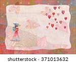 heart  greeting card.  colorful ... | Shutterstock . vector #371013632