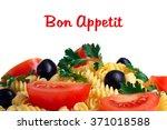 fusilli pasta with fresh... | Shutterstock . vector #371018588