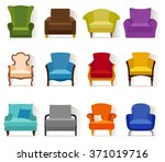 set of different chairs in flat ... | Shutterstock .eps vector #371019716