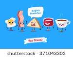 breakfast. funny characters egg ... | Shutterstock .eps vector #371043302