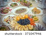 festive well laid table with... | Shutterstock . vector #371047946