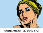pop art comic style woman ... | Shutterstock . vector #371049572