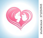 mother and child heart shaped... | Shutterstock .eps vector #371054945